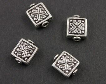 Bali Sterling Silver Fancy Square Bead, Scroll Pattern, 9x11mm Antique Oxidized Finish, 1 Piece (BA-5048)