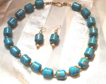 Turquoise & Sandalwood Necklace Earrings Set Vintage Repurposed Upcycled Beads