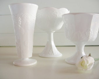 Milk Glass Vases, Milk Glass Compotes, Wedding Decor, Cottage, Shabby Chic, Farmhouse