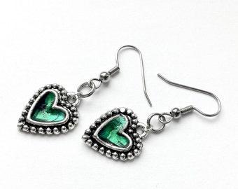 Silver Heart Earrings, Emerald Green, Gift for Girlfriend, Punk Rock Jewlery, Black and Silver Dangle Earrings