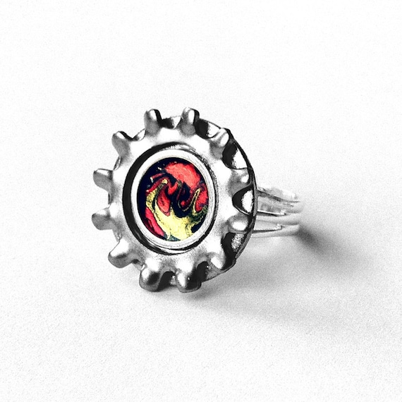 Mens Ring Stainless Steel Gear, Orange and Yellow, Silver Gear Ring, Adjustable, Mechanics Gift
