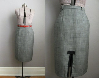 1980s Vintage Skirt Glen Plaid Pencil Skirt 80s Houndstooth Wool / Medium