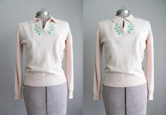 60s Sweater / Pinup Sweater Soft Pink / Size Medium Large