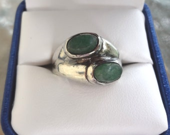 Vintage - Sterling Silver & Emerald Ring - Unisex - Handmade in Mexico