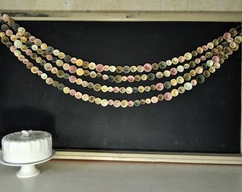 Wedding Garland Paper flowers, neutral, Ivory Pink  22 feet