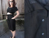 80s vintage button front pencil skirt // classic // small