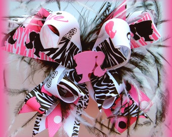 Pink Zebra Barbie OTT Princess Boutique Hairbow Bow Ostrich Feather Bling