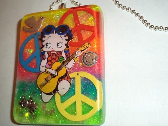 Sale. Betty Boop necklace,hippie necklace