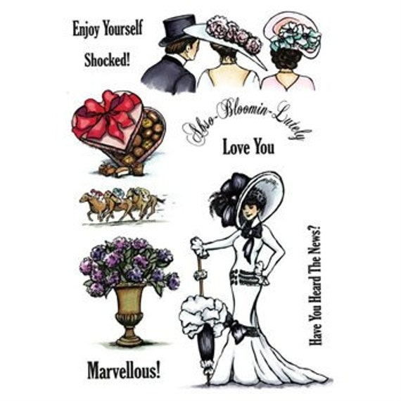 """SHeeNA DOUGLaSS Stamp Set -  """" MY FAIR LADY """"from the """" A Little Bit SKETcHY"""" COLLECtION   - NeW"""