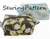 make up bag, box pouch pdf sewing pattern, wash bag, travel bag, cosmetics bag pattern for 2 different sizes, easy pdf tutorial