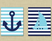 Nautical nursery 8x10 set- anchor wall art- sailboat wall art- light blue and navy- all colors available