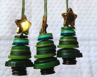Button Christmas tree ornaments - set of 3
