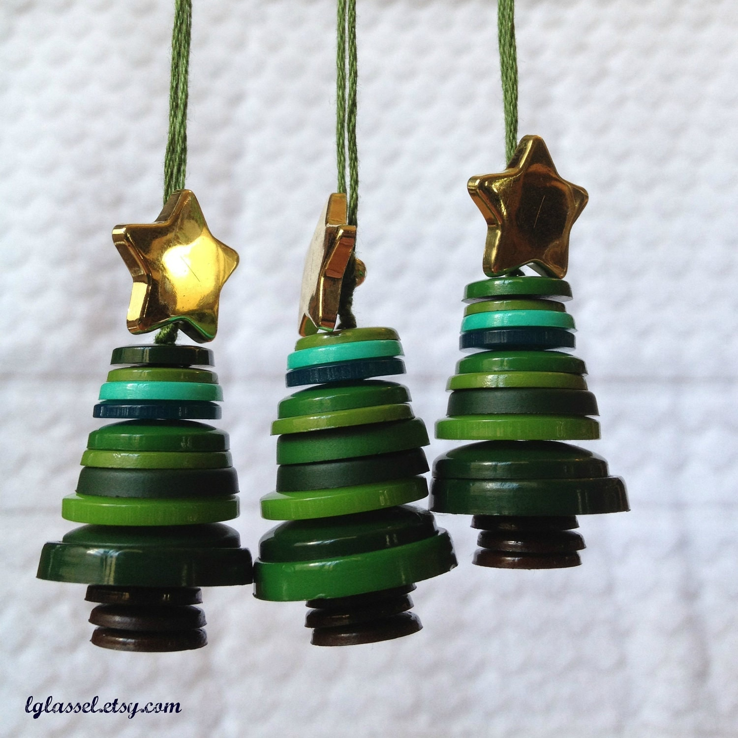 Button christmas tree ornaments set of
