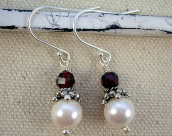 White pearl, deep red garnet and sterling silver earrings by Cerise Jewelry