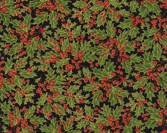 Natures Holiday by Timeless Treasures CM8786 Tossed Holly Black 1 yard
