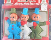 Christmas ornaments, 1950's, vintage Commodore decorations, three elves in original package