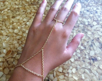 Gold, Silver, Bronze, or Gunmetal Triangle Hand Chain Slave Bracelet