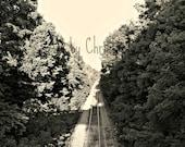 Making Tracks, tracks. railroad, landscape, 8x10, fine art photography, black and white, path