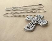 Chunky Silver Cross Pendant Long Necklace Christian Large Rustic Bohemian Big Jewelry Teens Boho Fashion Ball Chain Gift Free Shipping