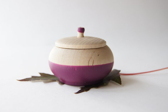 Mini Treasure Pot, Plum Purple:  Wedding Decor, Engagement, Special Jewelry Box, Toothfairy