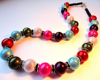 Multicolor Necklace, Miracle Beads Necklace, party Jewelry, Sparkling Necklace, OOAK, gift for her