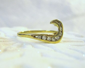 14K Gold Diamond Ring, 8 Stone Diamond Ring, Crescent Shape Ring, Diamond Ring Guard Size 8 1/2