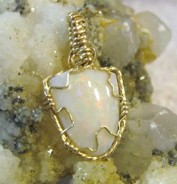 24x9 Australian Opal Pendant Wire Wrapped 14 Kt. Gold-filled (14/20)