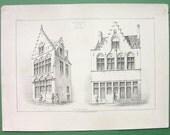 FRANCE Bruges Renaissance Facades of Brick Houses - 1851 SCARCE Litho Antique Print