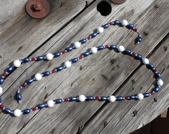 Blue Beaded Scarf Necklace