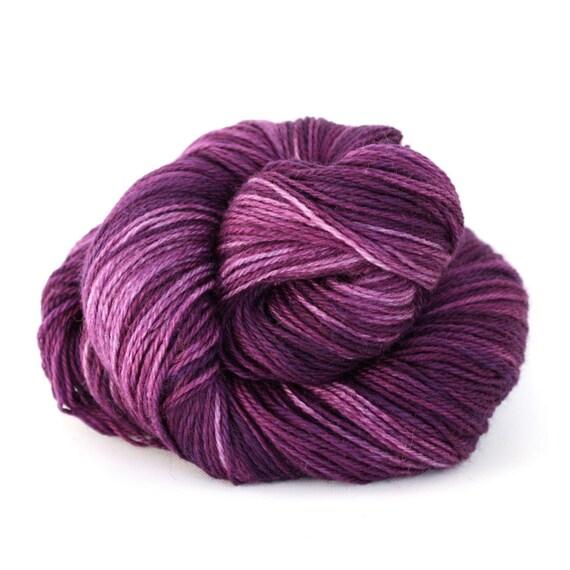 Hand Dyed Superwash Wool Fingering/Sock Yarn - Grape