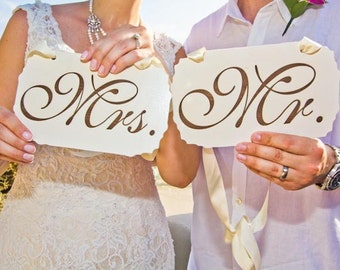 Mr. & Mrs. Wedding signs,Photo Props,Sweet Heart Table Signs, Laser Engraved Mr And Mrs Signs