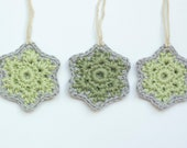 Snowflakes Christmas Decorations Crochet Stars Chunky Set of 3 Eco Cotton
