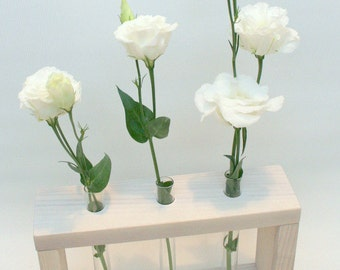 "Wooden Bud Vase ""White Wedding""  / 3 Flowers Vase / Wedding Decor / Wedding Gift / White Vase"