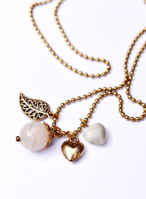 Necklace Jade, Leaf & Hearts - Bohemian Gold