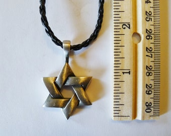 Star of David Fine Pewter  Silver Antiqued Pendant
