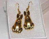 Sparkly Golden Rabbit Dangle Pierced Earrings