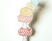 SALE // Mushroom Brooch // Shrink Plastic
