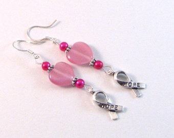 """Magenta Pearl, Pink Heart & Hope Ribbon """"Breast Cancer Awareness"""" Earrings, BCA Style 14, Pink Jewelry, Pink Earrings"""