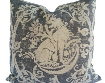 Decorative, Old World, Suzani, Lion Medallion, Gray Pillow Cover, 18x18, 20x20, 22x22 Throw Pillow
