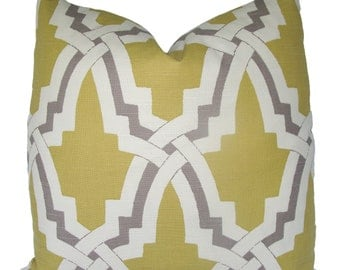 Designer Duralee Bokara Linx, Pillow Cover, 18x18, 20x20, 22x22 or Lumbar, Yellow Geometric Throw Pillow
