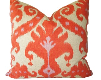 Decorative Designer Ikat Orange Pillow, 16x16, 18x18, 20x20, of Lumbar, Throw Pillow