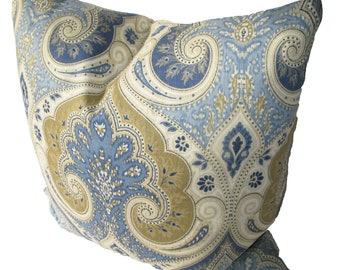 Decorative Designer Kravet Latika Paisley, Ikat,  Blue, Tan,  18x18, 20x20, 22x22 or Lumbar, Both Sides, Throw Pillow