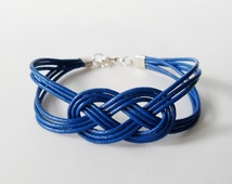 Leather Sailor Knot Bracelet - Royal Blue Leather Strap Bracelet with Sailor Knot - Simple and Stylish