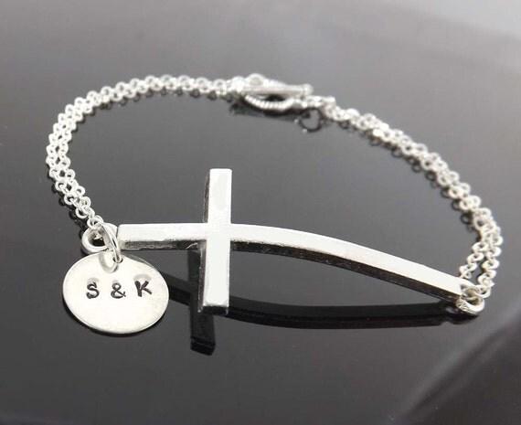 Personalized cross bracelet  -  personalized initial - birthday, graduation, friendship - sideways cross bracelet - Mother's Day gifts