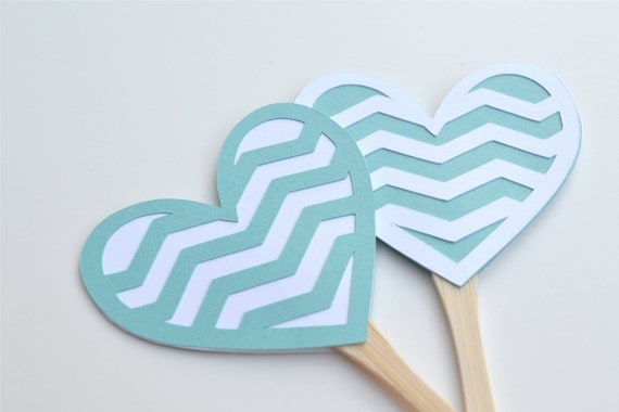 12 Turquoise and White Chevron Heart Cupcake Toppers