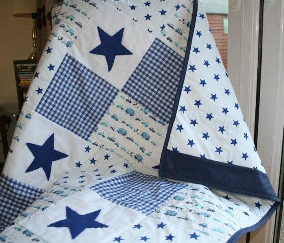 Baby Boy Blanket Baby Boy Patchwork Quilt Blue Gingham Navy