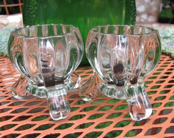Vintage Clear Glass Ribbed Candle Holders