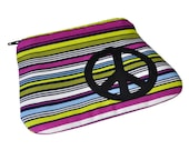 Cosmetic pouch Coin purse appliqued black peace sign Color stripes cotton fabric