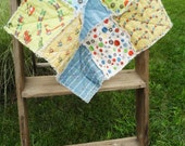 Security Blanket Baby Rag Quilt Little Boy. Trains. Yellow, Blue, Green. Scoot.
