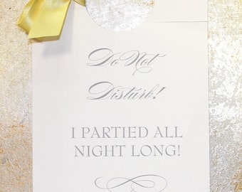 Door Hanger - Wedding Hotel Guest Do Not Disturb or Valet Hangers - with your choice of Ribbon and Font Color